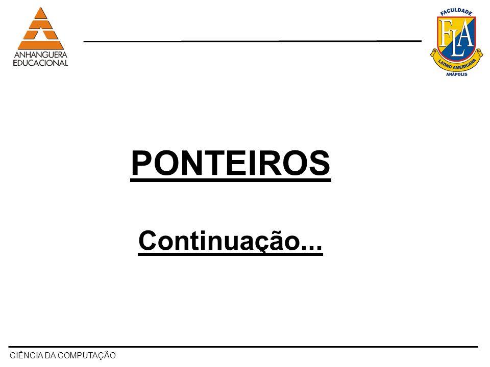 CIÊNCIA DA COMPUTAÇÃO Relembrando Ponteiros...