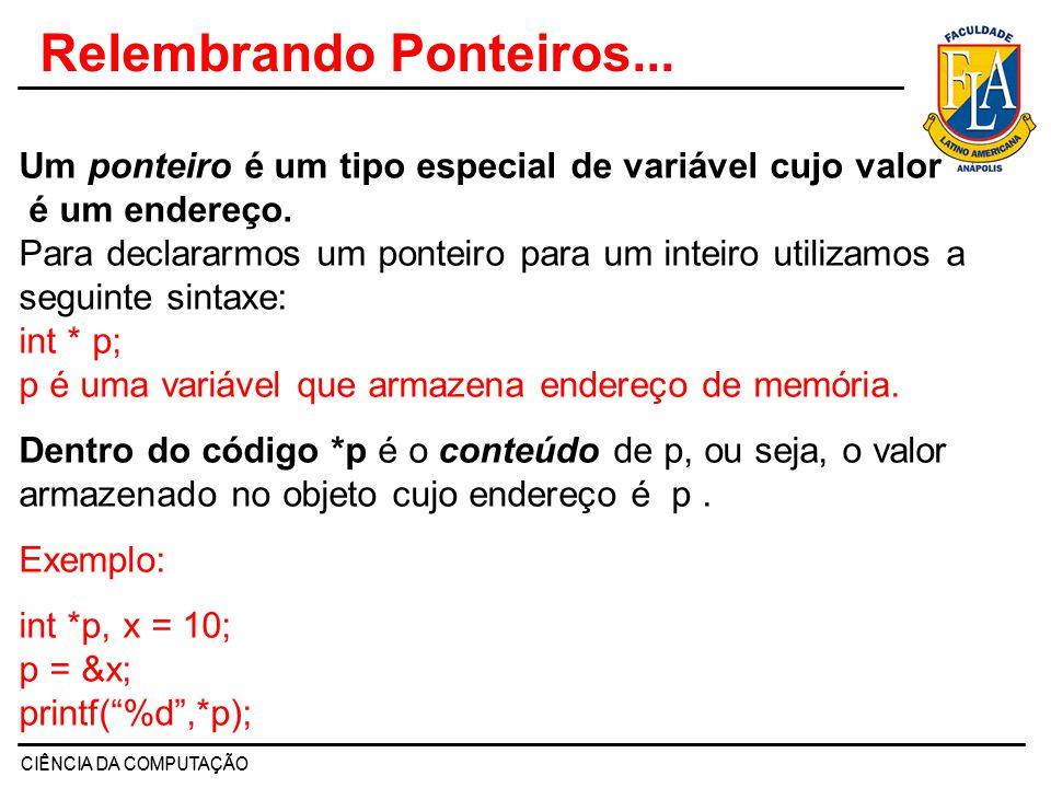 CIÊNCIA DA COMPUTAÇÃO Relembrando Ponteiros... 90001 89422 p x 10 p = &x *p é 10 p