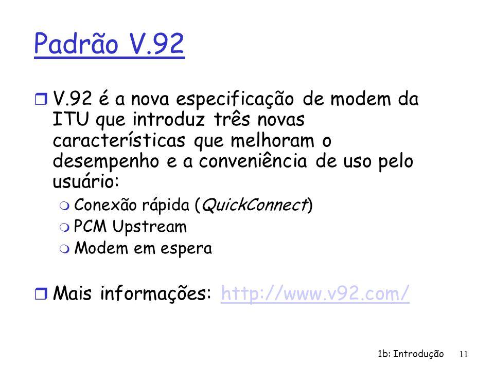 1b: Introdução11 Padrão V.92 r V.92 é a nova especificação de modem da ITU que introduz três novas características que melhoram o desempenho e a conve