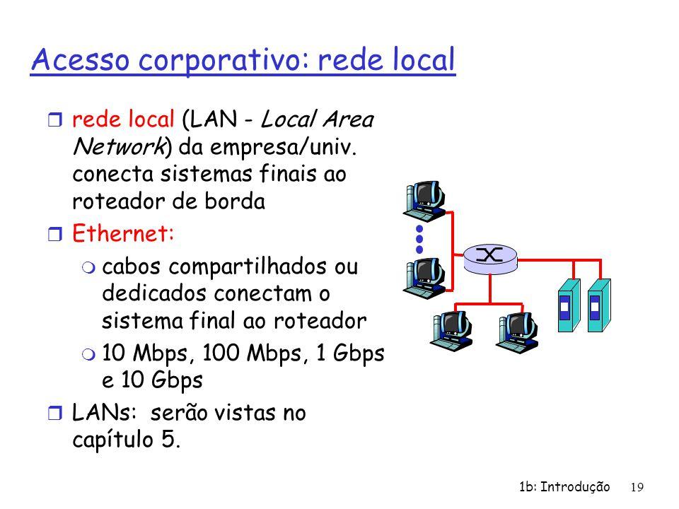 1b: Introdução19 Acesso corporativo: rede local r rede local (LAN - Local Area Network) da empresa/univ. conecta sistemas finais ao roteador de borda