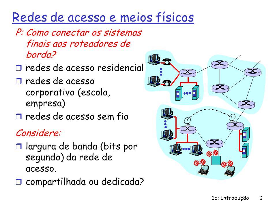 1b: Introdução2 Redes de acesso e meios físicos P: Como conectar os sistemas finais aos roteadores de borda? r redes de acesso residencial r redes de