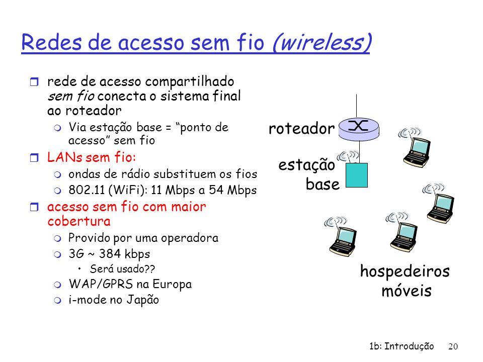 1b: Introdução20 Redes de acesso sem fio (wireless) r rede de acesso compartilhado sem fio conecta o sistema final ao roteador m Via estação base = po