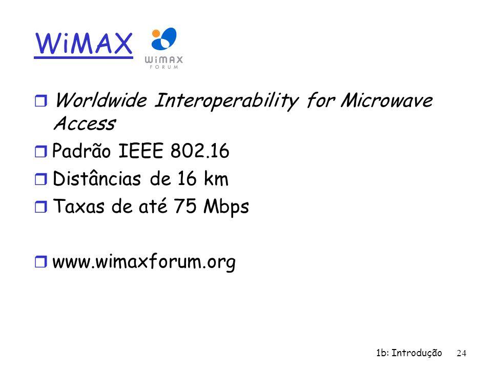 1b: Introdução24 WiMAX r Worldwide Interoperability for Microwave Access r Padrão IEEE 802.16 r Distâncias de 16 km r Taxas de até 75 Mbps r www.wimax