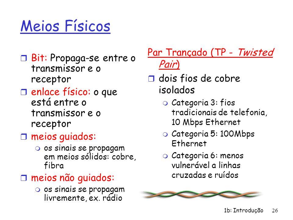 1b: Introdução26 Meios Físicos r Bit: Propaga-se entre o transmissor e o receptor r enlace físico: o que está entre o transmissor e o receptor r meios