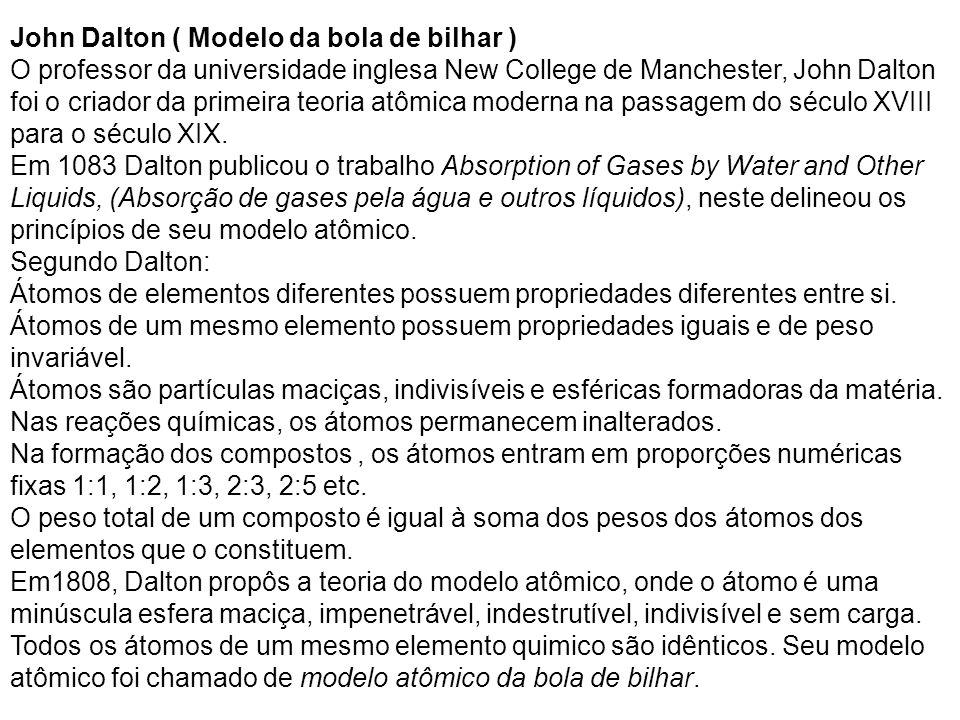John Dalton ( Modelo da bola de bilhar ) O professor da universidade inglesa New College de Manchester, John Dalton foi o criador da primeira teoria a