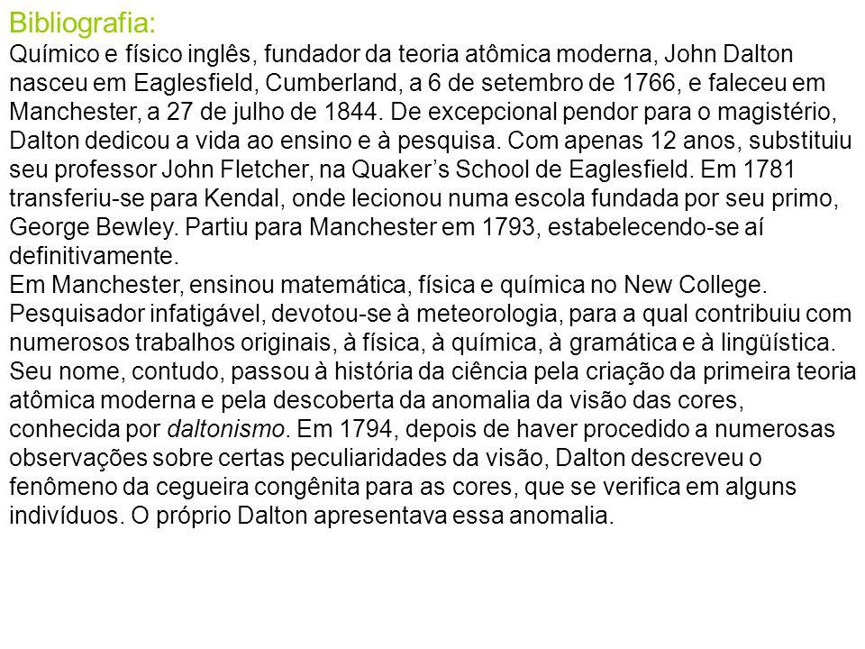 Bibliografia: Químico e físico inglês, fundador da teoria atômica moderna, John Dalton nasceu em Eaglesfield, Cumberland, a 6 de setembro de 1766, e f