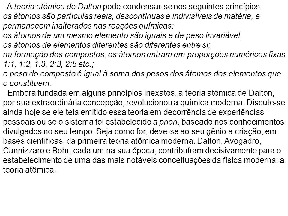 A teoria atômica de Dalton pode condensar-se nos seguintes princípios: os átomos são partículas reais, descontínuas e indivisíveis de matéria, e perma