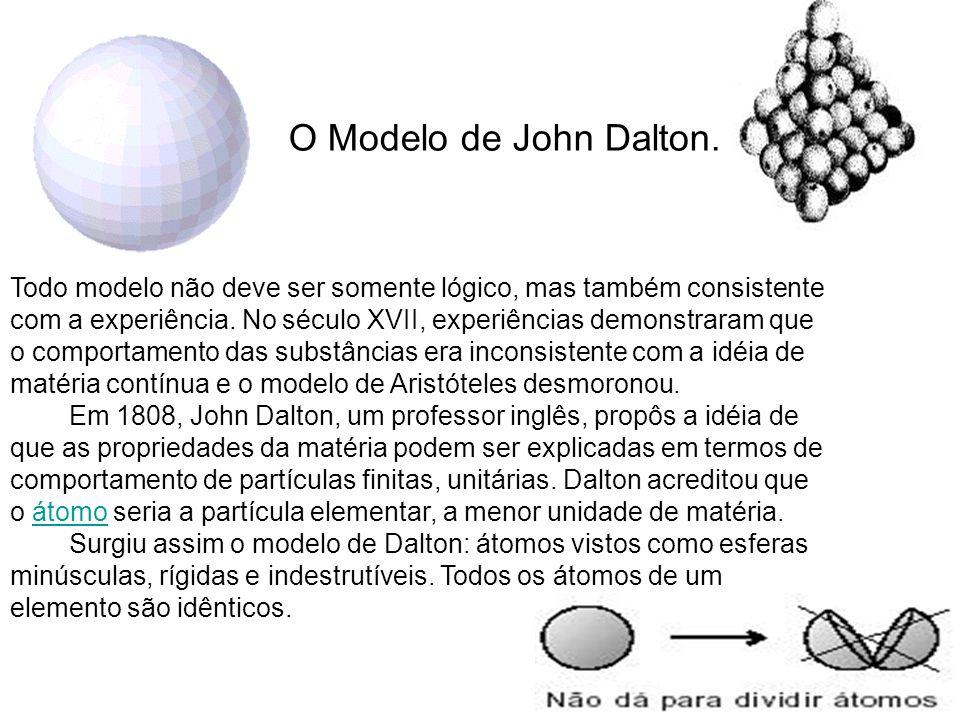 O Modelo de John Dalton. Todo modelo não deve ser somente lógico, mas também consistente com a experiência. No século XVII, experiências demonstraram