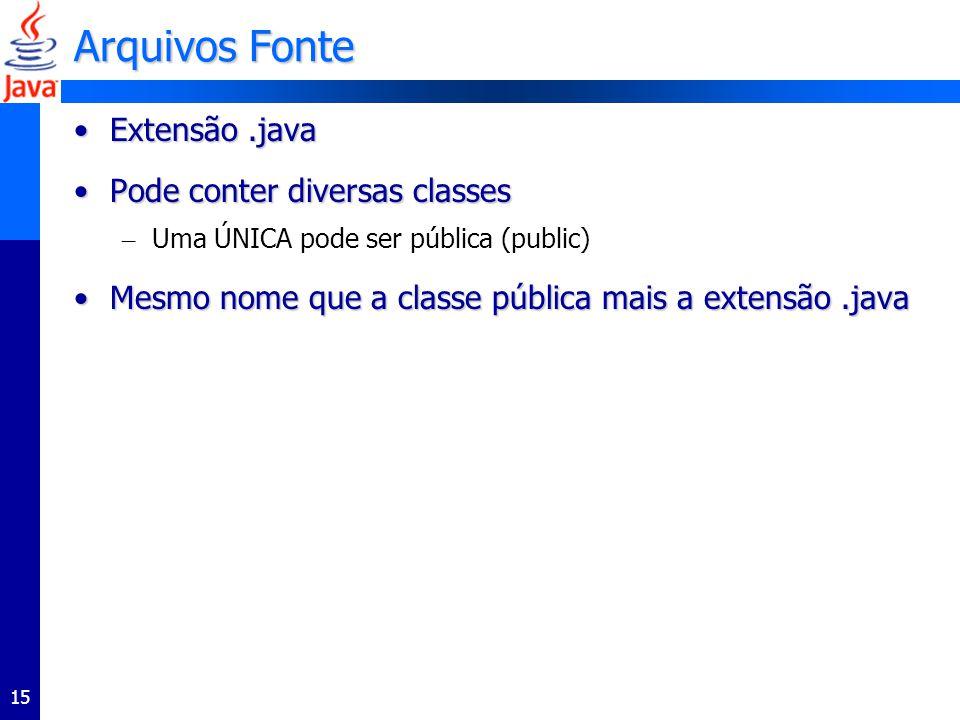 15 Arquivos Fonte Extensão.javaExtensão.java Pode conter diversas classesPode conter diversas classes – Uma ÚNICA pode ser pública (public) Mesmo nome