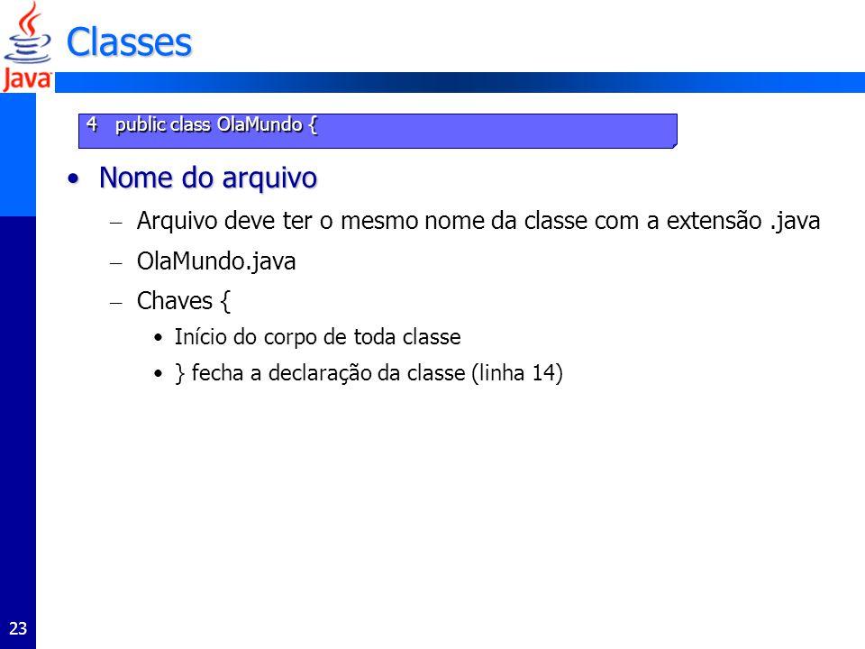 23 Classes Nome do arquivoNome do arquivo – Arquivo deve ter o mesmo nome da classe com a extensão.java – OlaMundo.java – Chaves { Início do corpo de