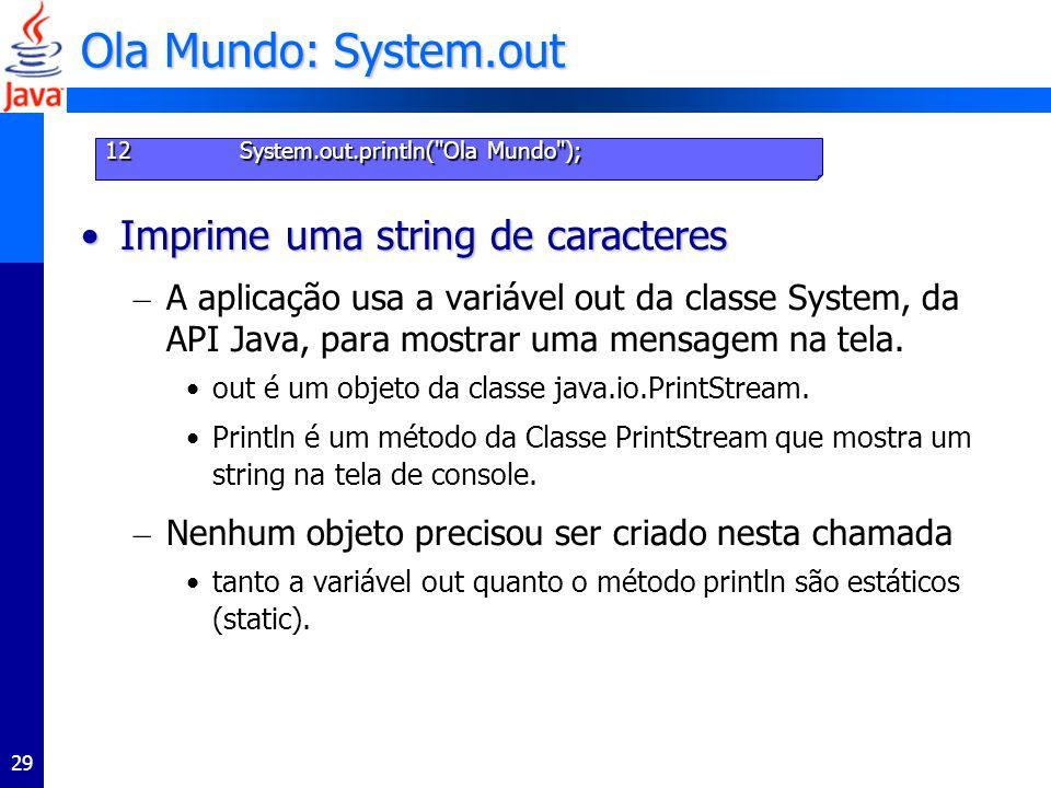 29 Ola Mundo: System.out Imprime uma string de caracteresImprime uma string de caracteres – A aplicação usa a variável out da classe System, da API Java, para mostrar uma mensagem na tela.