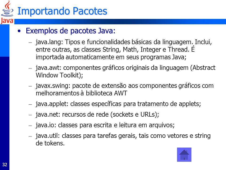 32 Importando Pacotes Exemplos de pacotes Java:Exemplos de pacotes Java: – java.lang: Tipos e funcionalidades básicas da linguagem. Inclui, entre outr