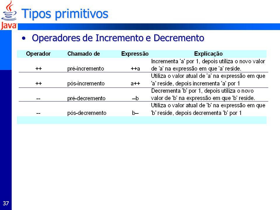 37 Tipos primitivos Operadores de Incremento e DecrementoOperadores de Incremento e Decremento