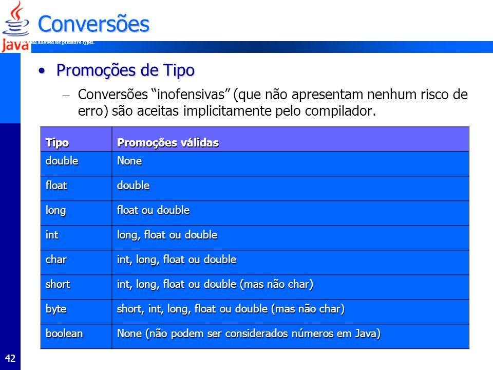 42 Conversões Promoções de TipoPromoções de Tipo – Conversões inofensivas (que não apresentam nenhum risco de erro) são aceitas implicitamente pelo compilador.