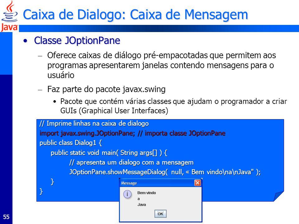 55 Caixa de Dialogo: Caixa de Mensagem Classe JOptionPaneClasse JOptionPane – Oferece caixas de diálogo pré-empacotadas que permitem aos programas apresentarem janelas contendo mensagens para o usuário – Faz parte do pacote javax.swing Pacote que contém várias classes que ajudam o programador a criar GUIs (Graphical User Interfaces) // Imprime linhas na caixa de dialogo import javax.swing.JOptionPane; // importa classe JOptionPane public class Dialog1 { public static void main( String args[] ) { // apresenta um dialogo com a mensagem JOptionPane.showMessageDialog( null, « Bem vindo\na\nJava ); }}