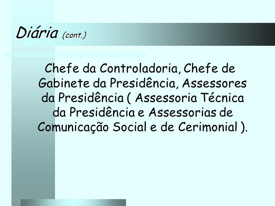 Chefe da Controladoria, Chefe de Gabinete da Presidência, Assessores da Presidência ( Assessoria Técnica da Presidência e Assessorias de Comunicação Social e de Cerimonial ).