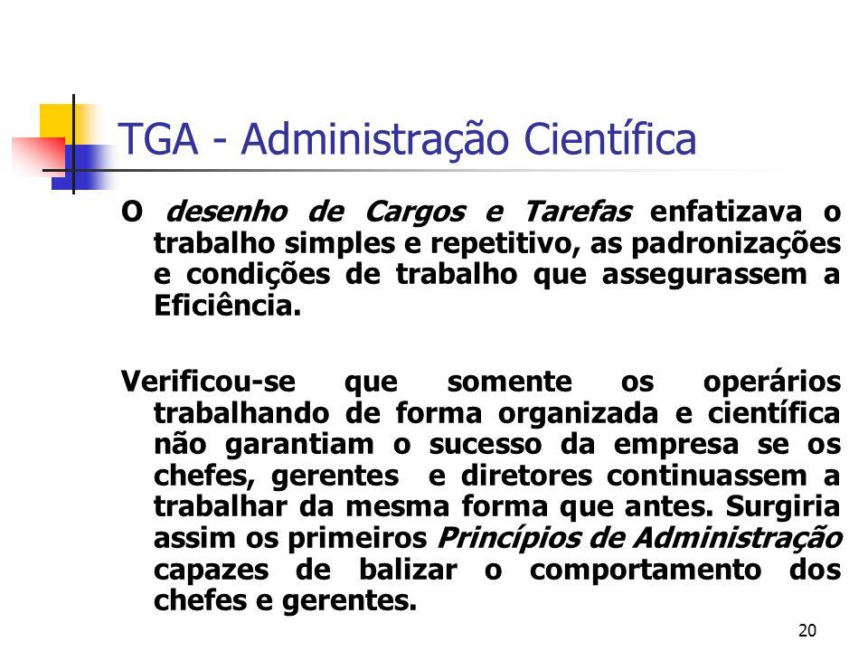 20 TGA - Administração Científica O desenho de Cargos e Tarefas enfatizava o trabalho simples e repetitivo, as padronizações e condições de trabalho q