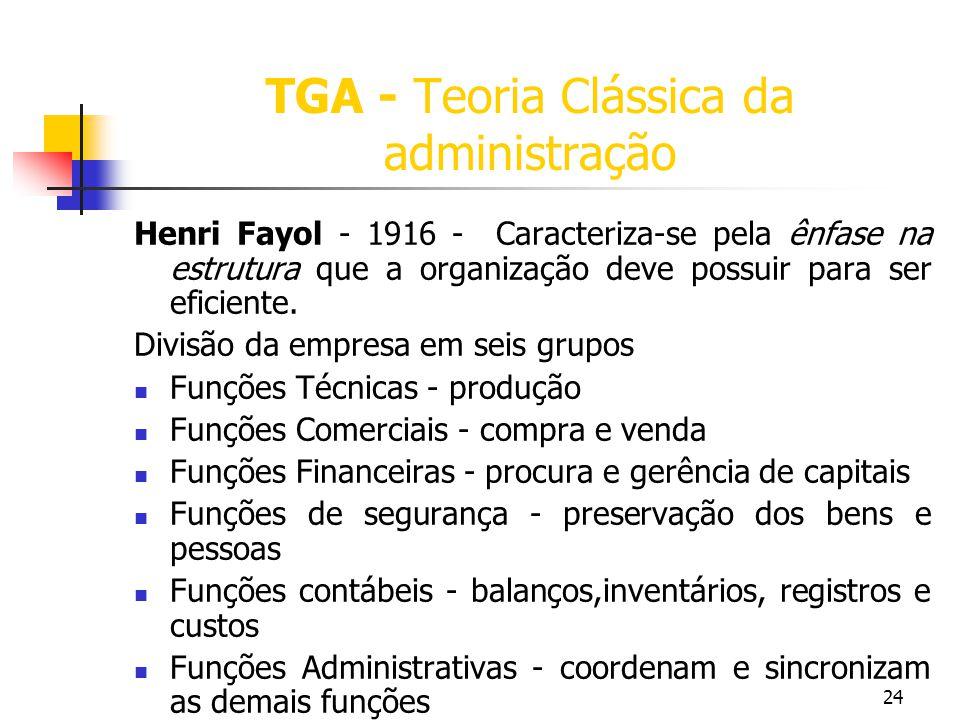 24 TGA - Teoria Clássica da administração Henri Fayol - 1916 - Caracteriza-se pela ênfase na estrutura que a organização deve possuir para ser eficien