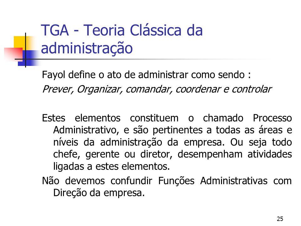 25 TGA - Teoria Clássica da administração Fayol define o ato de administrar como sendo : Prever, Organizar, comandar, coordenar e controlar Estes elem