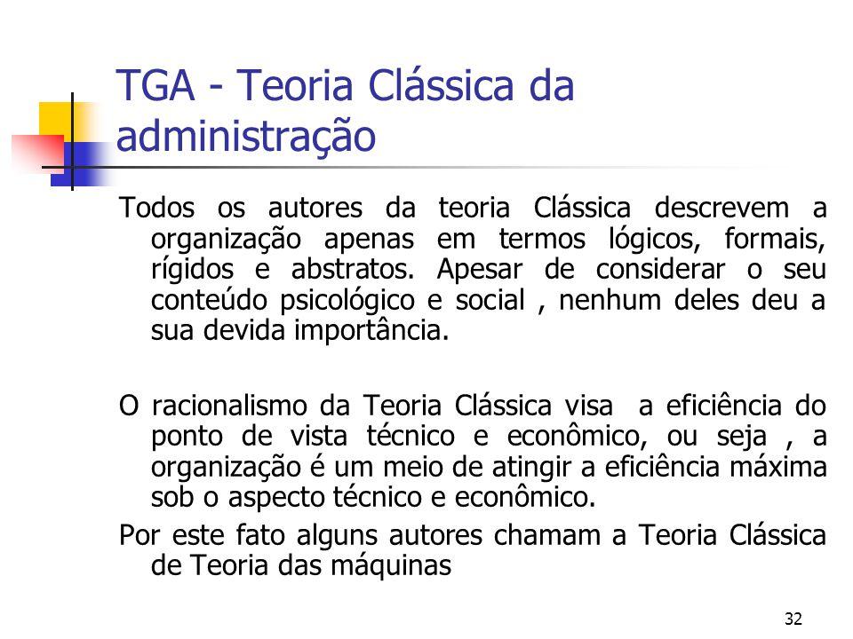 32 TGA - Teoria Clássica da administração Todos os autores da teoria Clássica descrevem a organização apenas em termos lógicos, formais, rígidos e abs