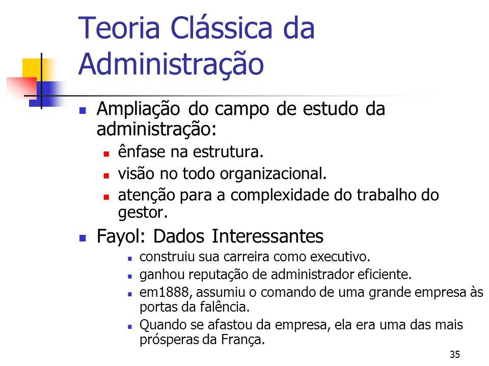 35 Ampliação do campo de estudo da administração: ênfase na estrutura. visão no todo organizacional. atenção para a complexidade do trabalho do gestor