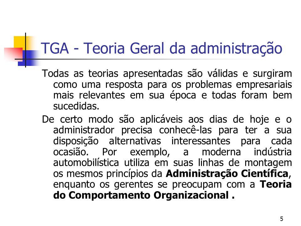 5 TGA - Teoria Geral da administração Todas as teorias apresentadas são válidas e surgiram como uma resposta para os problemas empresariais mais relev