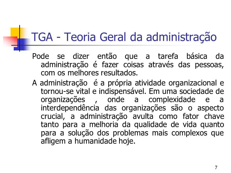 7 TGA - Teoria Geral da administração Pode se dizer então que a tarefa básica da administração é fazer coisas através das pessoas, com os melhores res