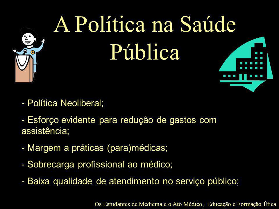 Os Estudantes de Medicina e o Ato Médico, Educação e Formação Ética A Política na Saúde Pública - Política Neoliberal; - Esforço evidente para redução