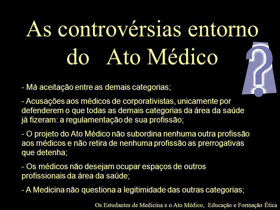 Os Estudantes de Medicina e o Ato Médico, Educação e Formação Ética As controvérsias entorno do Ato Médico - Má aceitação entre as demais categorias;