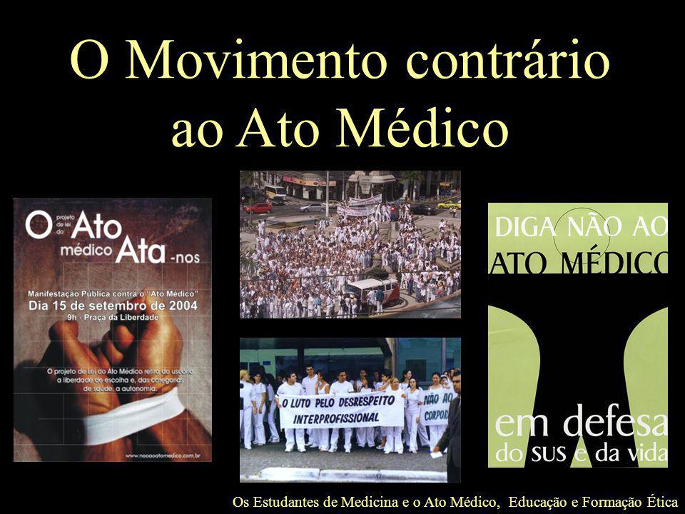 Os Estudantes de Medicina e o Ato Médico, Educação e Formação Ética O Movimento contrário ao Ato Médico