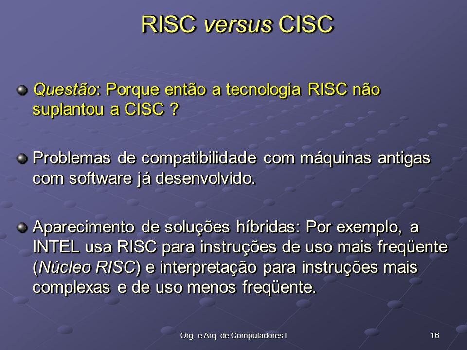 16Org. e Arq. de Computadores I Questão: Porque então a tecnologia RISC não suplantou a CISC .