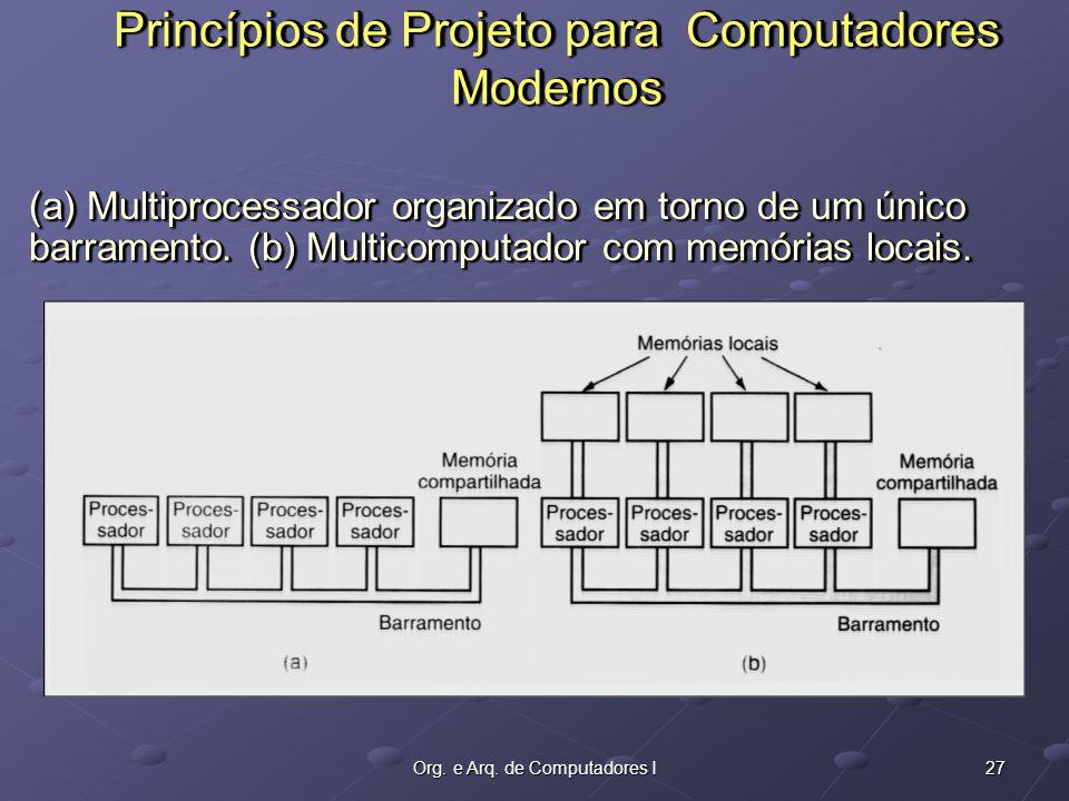 27Org. e Arq. de Computadores I (a) Multiprocessador organizado em torno de um único barramento.