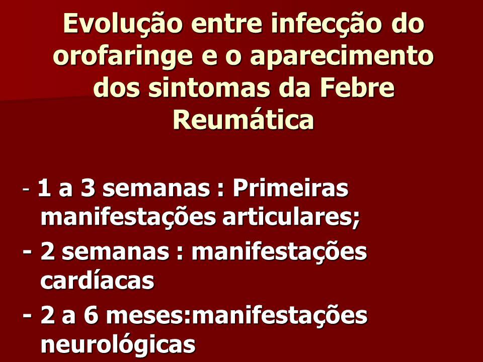 Evolução entre infecção do orofaringe e o aparecimento dos sintomas da Febre Reumática - 1 a 3 semanas : Primeiras manifestações articulares; - 2 semanas : manifestações cardíacas - 2 a 6 meses:manifestações neurológicas