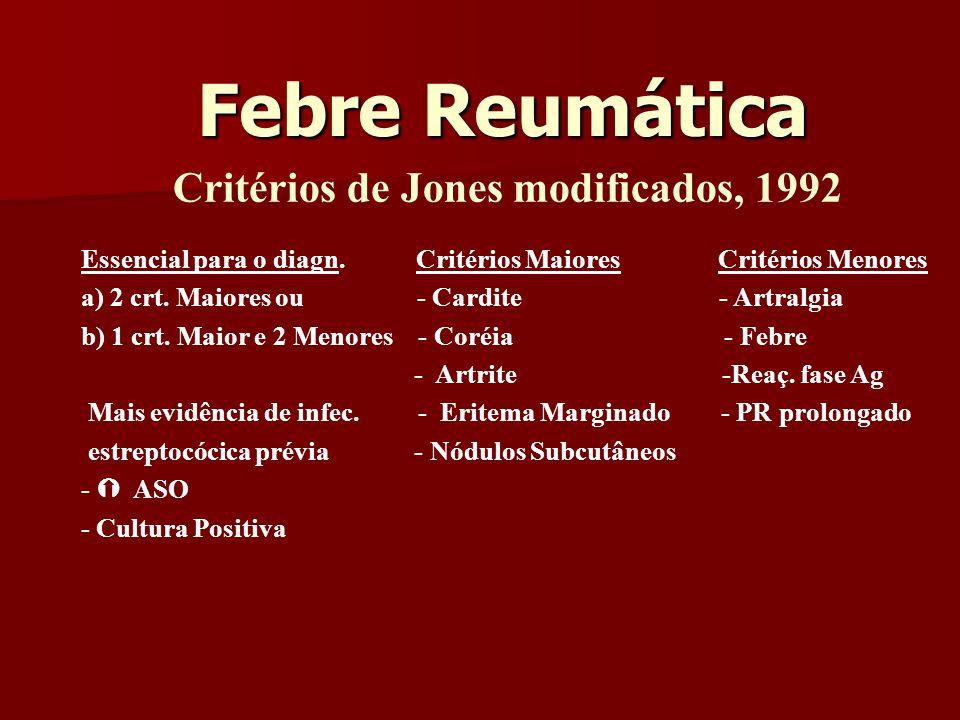 Febre Reumática Critérios de Jones modificados, 1992 Essencial para o diagn.