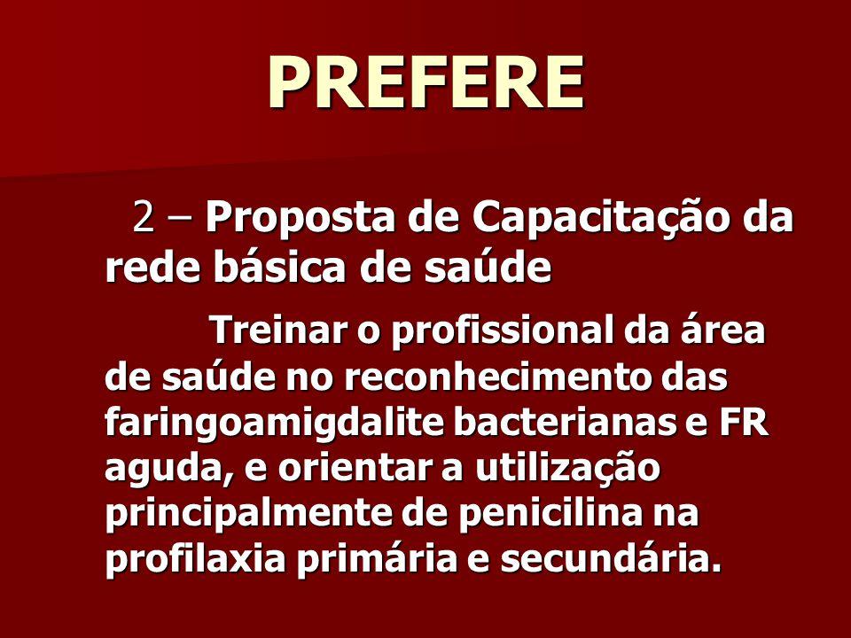 PREFERE 2 – Proposta de Capacitação da rede básica de saúde 2 – Proposta de Capacitação da rede básica de saúde Treinar o profissional da área de saúde no reconhecimento das faringoamigdalite bacterianas e FR aguda, e orientar a utilização principalmente de penicilina na profilaxia primária e secundária.