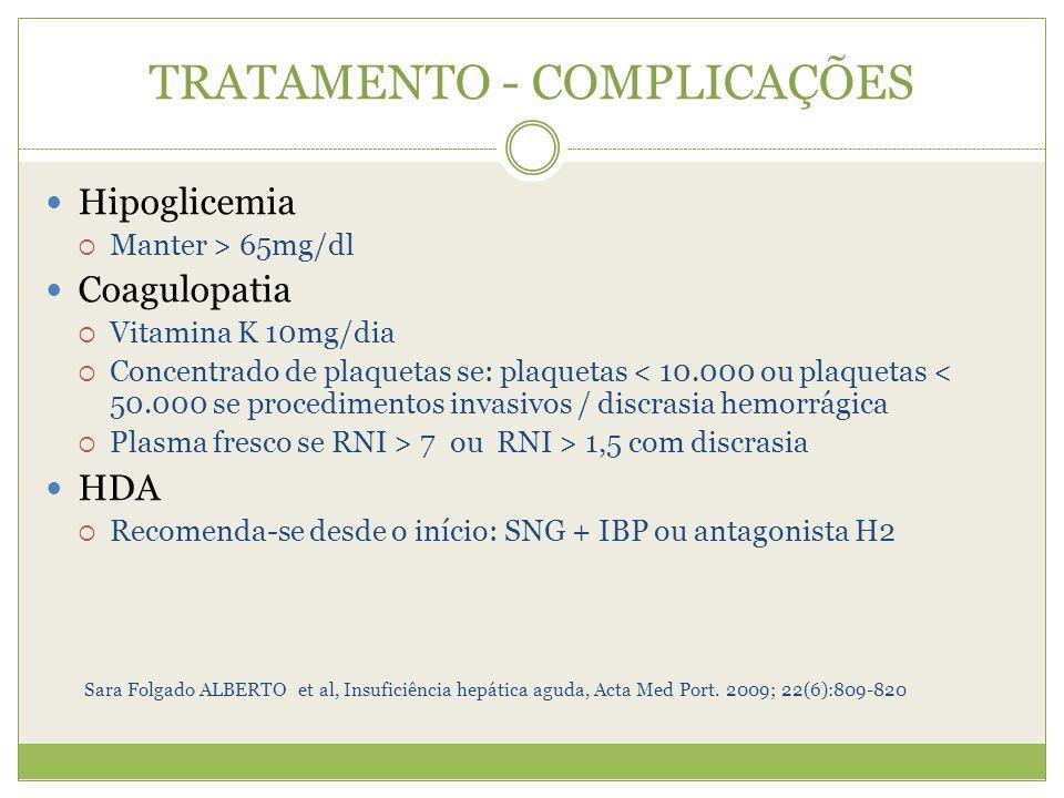 TRATAMENTO - COMPLICAÇÕES Hipoglicemia Manter > 65mg/dl Coagulopatia Vitamina K 10mg/dia Concentrado de plaquetas se: plaquetas < 10.000 ou plaquetas < 50.000 se procedimentos invasivos / discrasia hemorrágica Plasma fresco se RNI > 7 ou RNI > 1,5 com discrasia HDA Recomenda-se desde o início: SNG + IBP ou antagonista H2 Sara Folgado ALBERTO et al, Insuficiência hepática aguda, Acta Med Port.