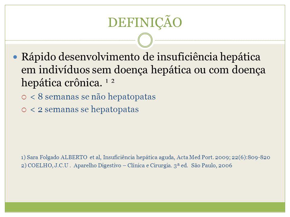 CLASSIFICAÇÃO Hiperaguda < 7 dias Aguda Entre 8 e 28 dias Subaguda > 28 dias Sara Folgado ALBERTO et al, Insuficiência hepática aguda, Acta Med Port.
