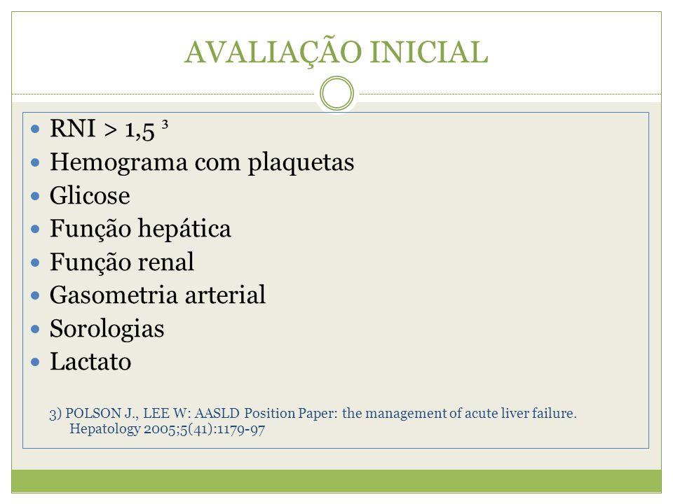 AVALIAÇÃO INICIAL RNI > 1,5 ³ Hemograma com plaquetas Glicose Função hepática Função renal Gasometria arterial Sorologias Lactato 3) POLSON J., LEE W: AASLD Position Paper: the management of acute liver failure.