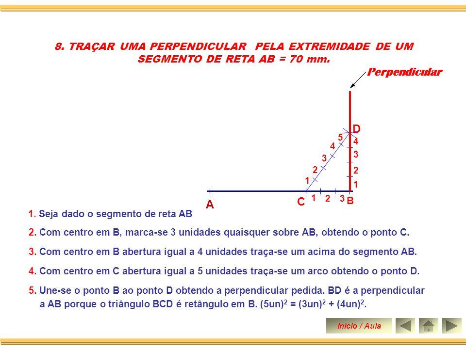 2. Com centro em B abertura qualquer descreve-se um arco, obtendo sobre AB o ponto 1. 1. Seja dado o segmento de reta AB 4. Une-se o ponto 1 a o ponto