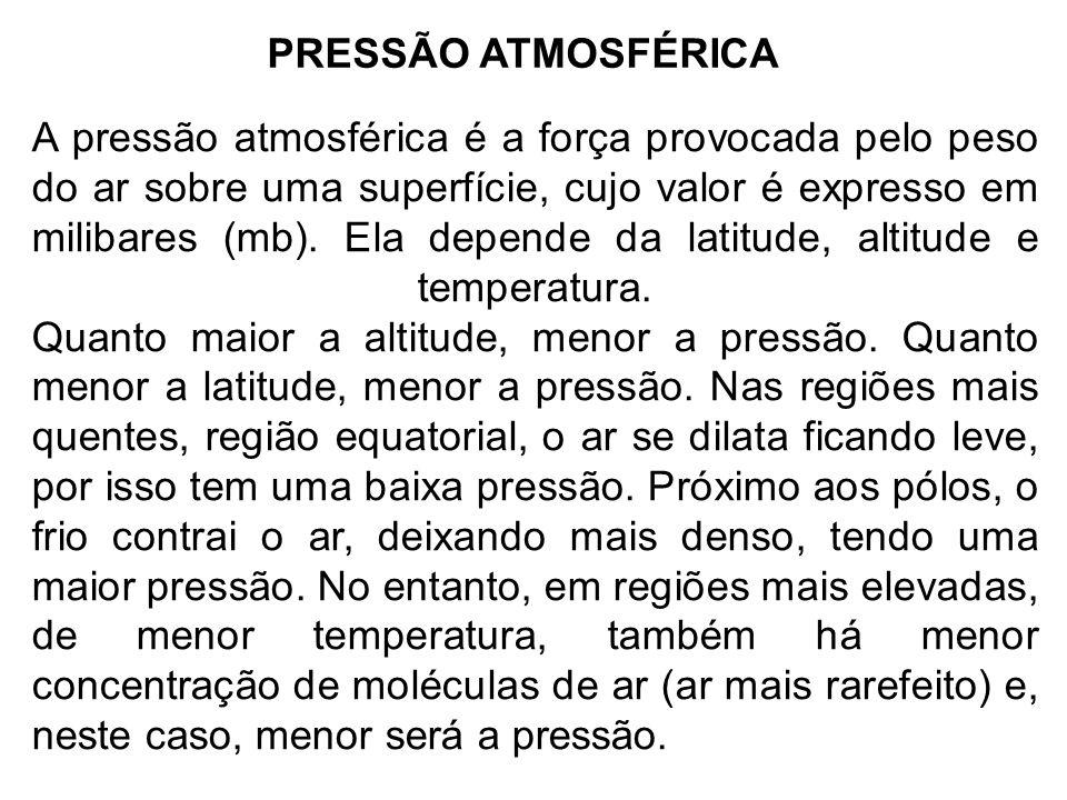 PRESSÃO ATMOSFÉRICA A pressão atmosférica é a força provocada pelo peso do ar sobre uma superfície, cujo valor é expresso em milibares (mb). Ela depen