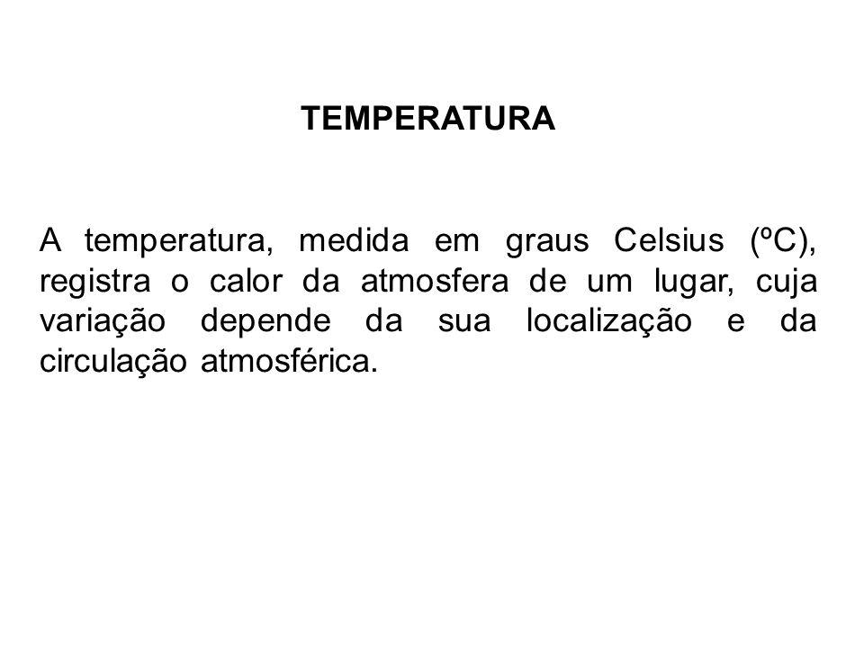 TEMPERATURA A temperatura, medida em graus Celsius (ºC), registra o calor da atmosfera de um lugar, cuja variação depende da sua localização e da circ