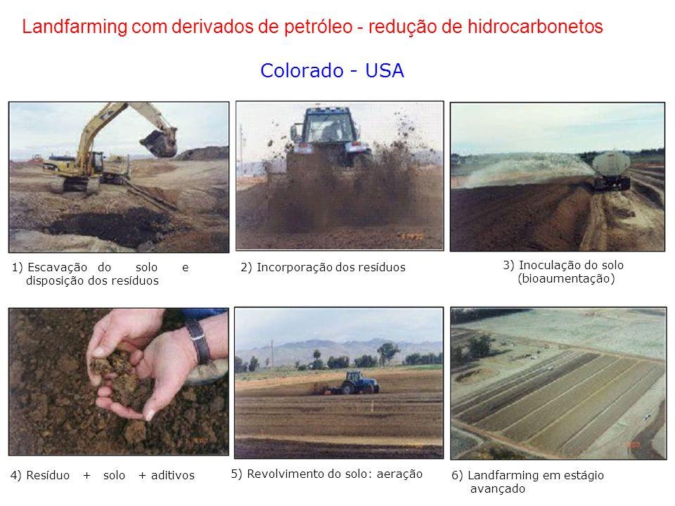 Landfarming com derivados de petróleo - redução de hidrocarbonetos Colorado - USA 3) Inoculação do solo 1) Escavação do solo e 2) Incorporação dos resíduos disposição dos resíduos (bioaumentação) 4) Resíduo + solo + aditivos 5) Revolvimento do solo: aeração 6) Landfarming em estágio avançado