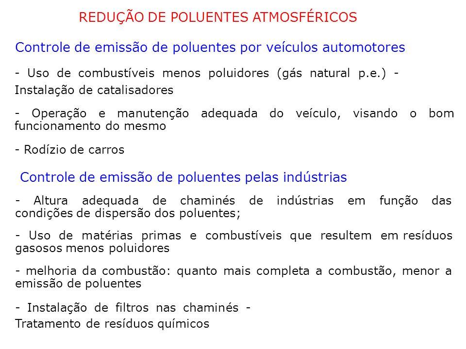 REDUÇÃO DE POLUENTES ATMOSFÉRICOS Controle de emissão de poluentes por veículos automotores - Uso de combustíveis menos poluidores (gás natural p.e.) - Instalação de catalisadores - Operação e manutenção adequada do veículo, visando o bom funcionamento do mesmo - Rodízio de carros Controle de emissão de poluentes pelas indústrias - Altura adequada de chaminés de indústrias em função das condições de dispersão dos poluentes; - Uso de matérias primas e combustíveis que resultem em resíduos gasosos menos poluidores - melhoria da combustão: quanto mais completa a combustão, menor a emissão de poluentes - Instalação de filtros nas chaminés - Tratamento de resíduos químicos