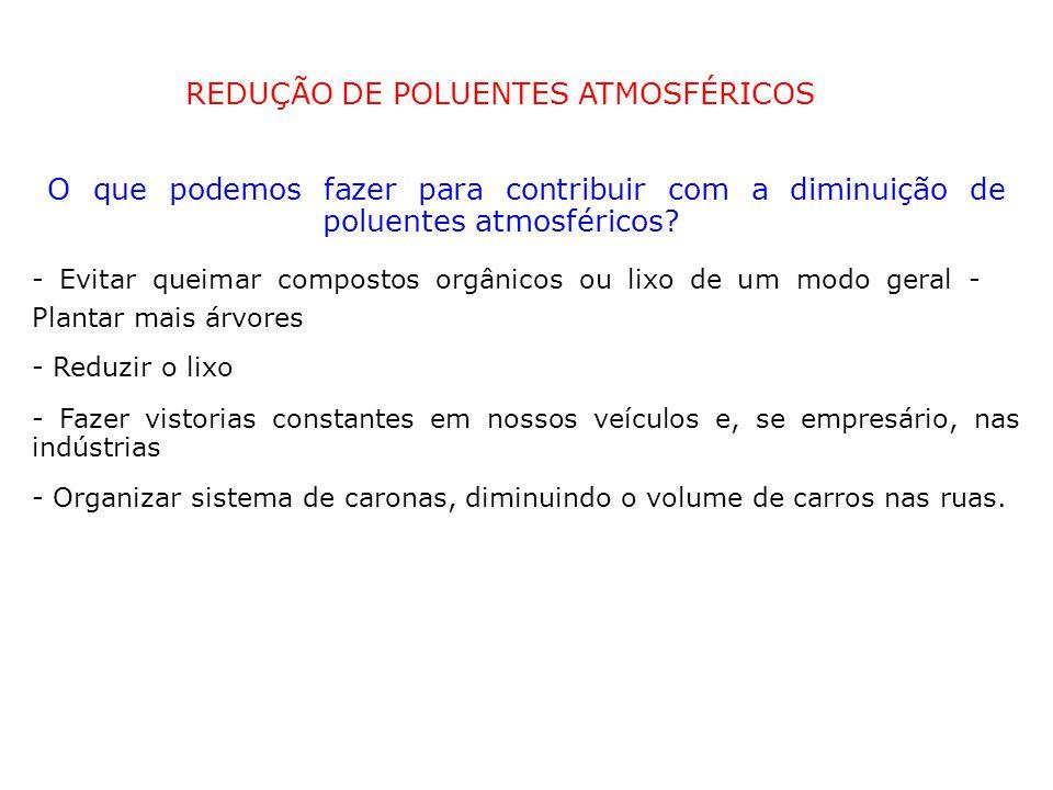 REDUÇÃO DE POLUENTES ATMOSFÉRICOS O que podemos fazer para contribuir com a diminuição de poluentes atmosféricos.