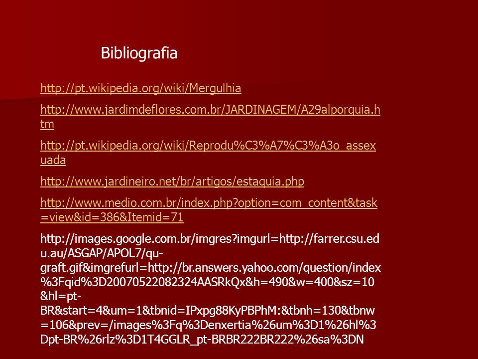 Bibliografia http://pt.wikipedia.org/wiki/Mergulhia http://www.jardimdeflores.com.br/JARDINAGEM/A29alporquia.h tm http://pt.wikipedia.org/wiki/Reprodu