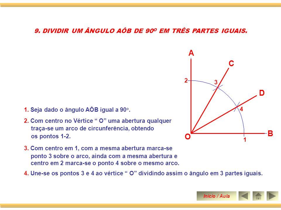 O B 2. Constrói-se um ângulo de 90 o. 3. Traça-se a bissetriz do ângulo de 90 o dividindo-o em dois ângulos de 45 o. 4. Em seguida traça-se a bissetri