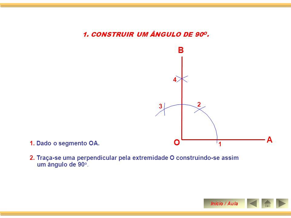 Dividir um ângulo AÔB qualquer em oito partes iguais. (Método Geral) Construir um ângulo de 90 graus. Construir um ângulo de 60 graus. Construir um ân