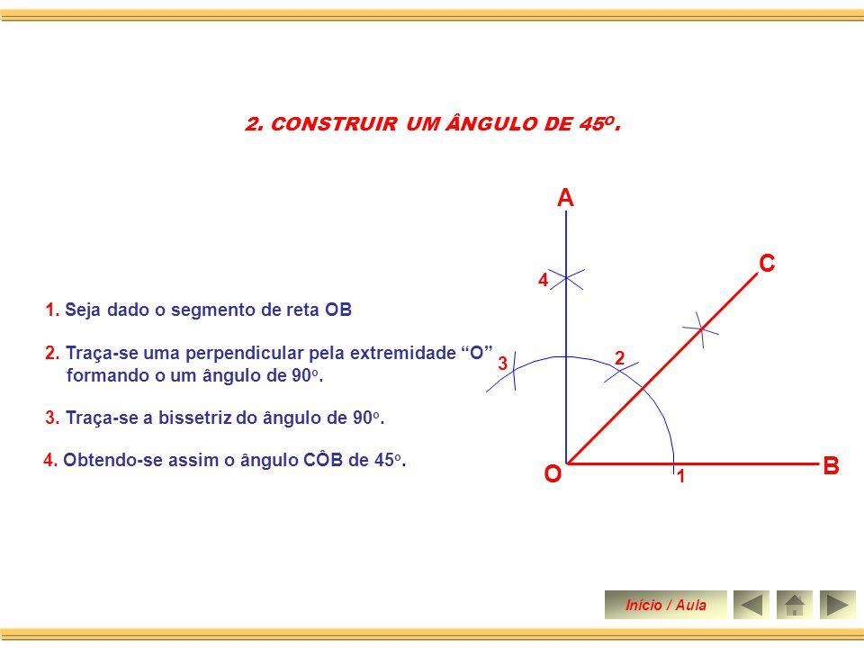 1. Dado o segmento OA. 1. CONSTRUIR UM ÂNGULO DE 90 O. 2. Traça-se uma perpendicular pela extremidade O construindo-se assim um ângulo de 90 o. Início