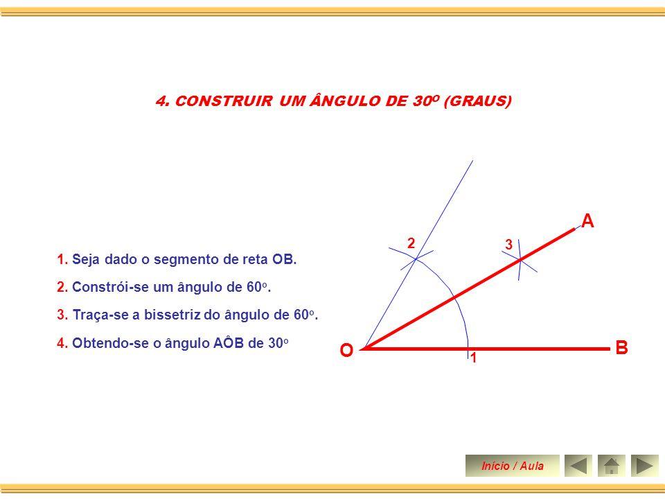 3. Com a mesma abertura e centro no ponto 1 traça-se um arco obtendo o ponto 2. 4. Une-se o ponto O ao ponto 2 construindo assim um ângulo de 60 o. 3.