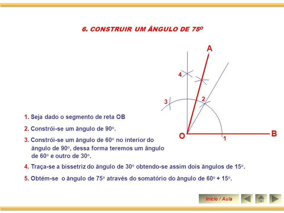 1. Seja dado o segmento de reta OB 2. Constrói-se um ângulo de 60 o. 4. Traça-se a bissetriz do ângulo de 30 o 5. CONSTRUIR UM ÂNGULO DE 15 O 3. Traça